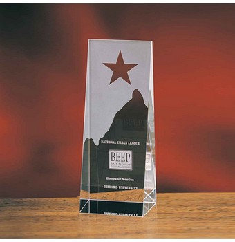 "CSW38 - 8"" Star On Wedge Crystal Star Award"