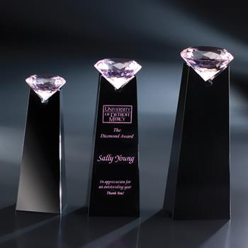 "CTI208PN - 8"" Pink Diamond Solitaire on Black Base Award"