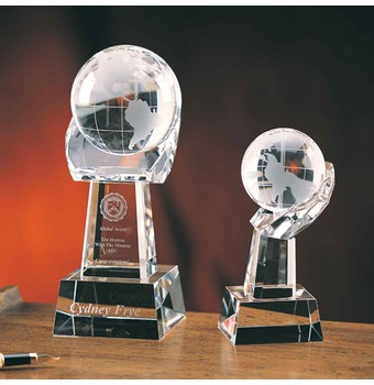 """CWH38 - 8"""" Crystal Spinning World On Hand Award"""