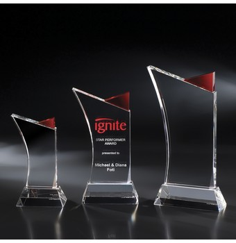 "NFY41RD - 11"" Firefly Crystal Award w/ Red Accent"