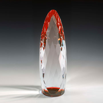 "NLQM414RD - 14"" Liquidum Crystal Award with Red Accent"