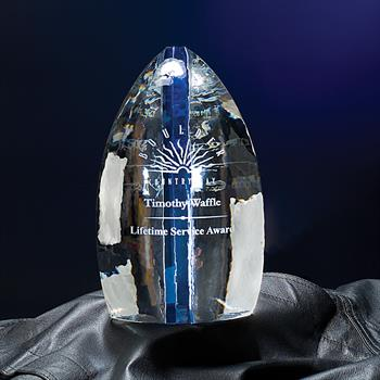 "NSL59BU - 9"" Solitude Crystal Award with Blue Accent"