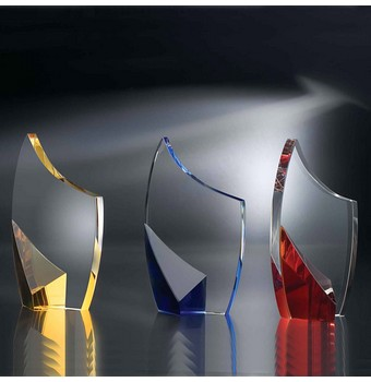 """STN48AB - 8"""" Trance with Amber Accent Crystal Award"""