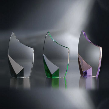 "STN48GR - 8"" Trance Crystal Award with Green Accent"