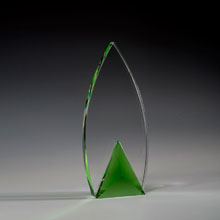 "9 1/2"" Frolic Crystal Award with Green Triangle Accent"