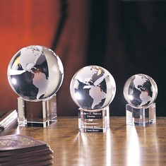 "3 1/8"" Spinning Crystal Globe Award"