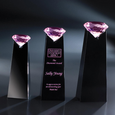 "10"" Pink Diamond Solitaire on Black Base Award"