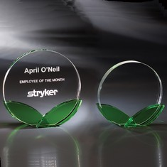 "6"" Green Shoots Crystal Award"