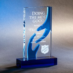 "8 3/4"" Helping Hands Crystal Award"