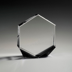 "6"" Bromium Crystal Award with Black Accent"