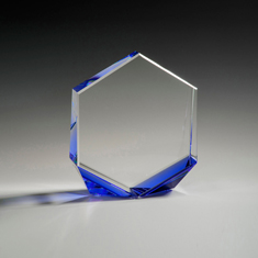 "6"" Bromium Crystal Award with Blue Accent"
