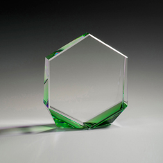 "6"" Bromium Crystal Award with Green Accent"