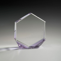 "6"" Bromium Crystal Award with Purple Accent"