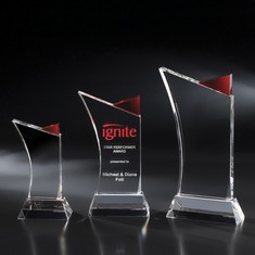 "11"" Firefly Crystal Award w/ Red Accent"