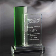 "10"" Green Infinity Crystal Award"